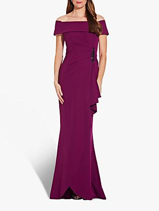 Adrianna Papell Off Shoulder Gown, Wildberry