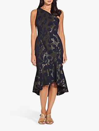 Adrianna Papell Jacquard One Shoulder Dress, Blue Moon