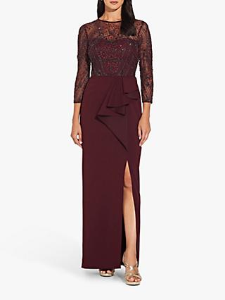 Adrianna Papell Beaded Split Column Dress, Burgundy