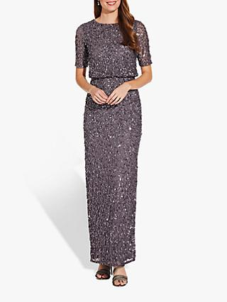 Adrianna Papell Beaded Long Dress, Moonscape