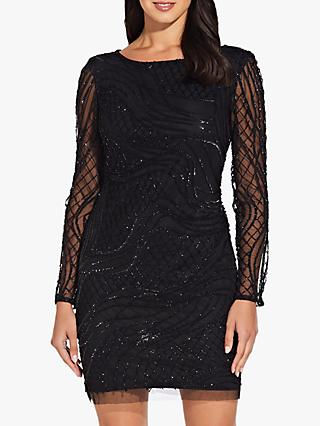 Adrianna Papell Beaded Dress, Black