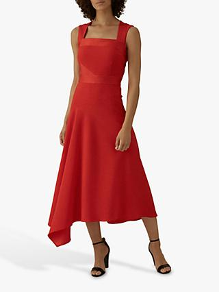 Karen Millen Draped Midi Dress, Red