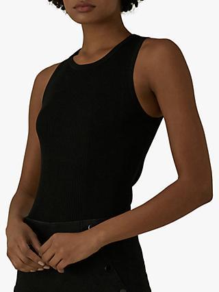57b2c9183 Karen Millen Skinny Ribbed Vest Top, Black