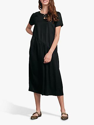 hush Darcie Asymmetric Midi Dress, Black