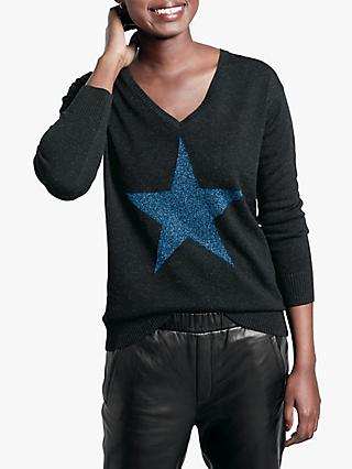 hush Stella Star Jumper, Navy Metallic Thread