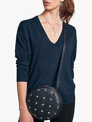 hush Monica Deep V-Neck Jumper, Midnight