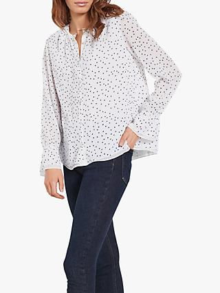 hush Lottie Spot Blouse, Star White/Black
