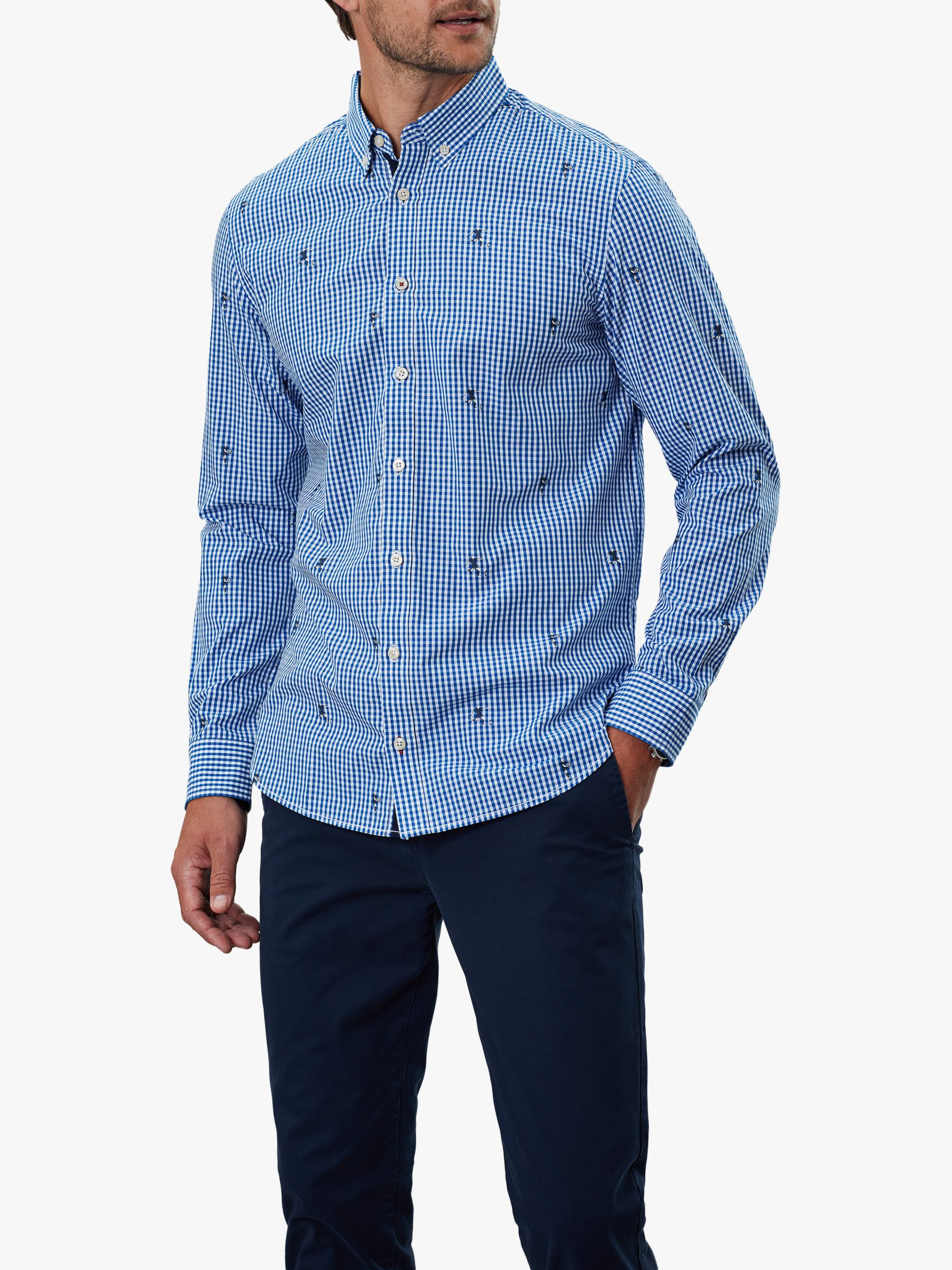 Joules Joules Coleridge Gingham Long Sleeve Shirt, Blue Rugby