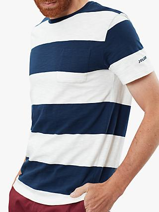 Joules Rugby Stripe T-Shirt, White/Navy Stripes