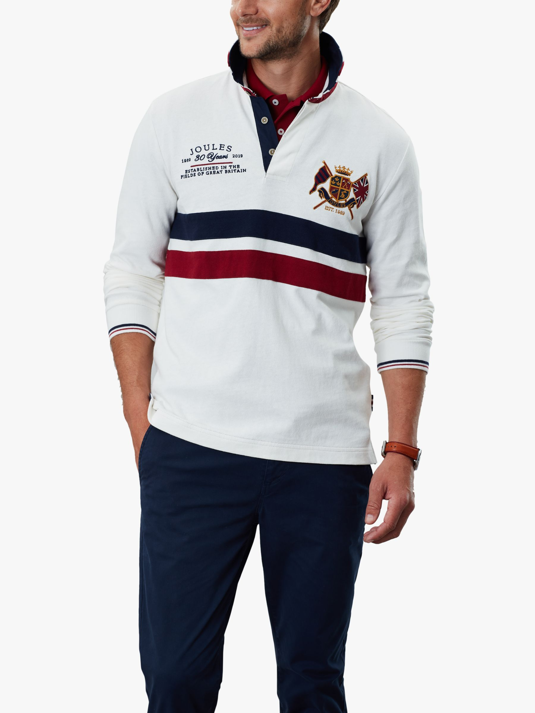 Joules 30th Long Sleeve Stripe Rugby Polo Shirt, Antique Cream at ...