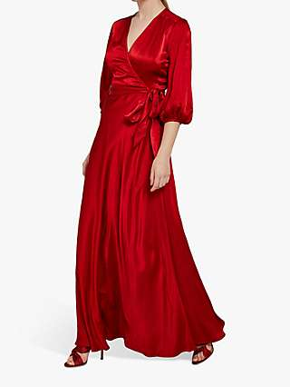 Ghost Gabrielle Satin Wrap Maxi Dress