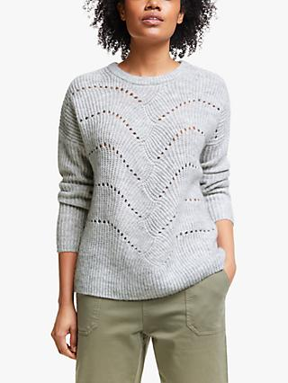 Collection WEEKEND by John Lewis Pointelle Crew Neck Jumper, Silver Grey Melange