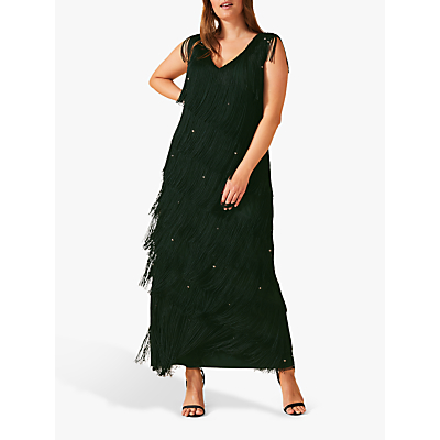 Studio 8 Siena Fringe Maxi Dress, Pine