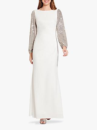 Adrianna Papell Plus Sequin Sleeve Dress, Ivory/SIlver