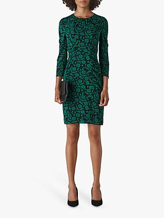 Whistles Block Floral Silk Dress, Green/Multi