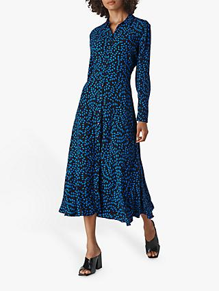 Whistles Scattered Diamond Midi Shirt Dress, Blue/Multi