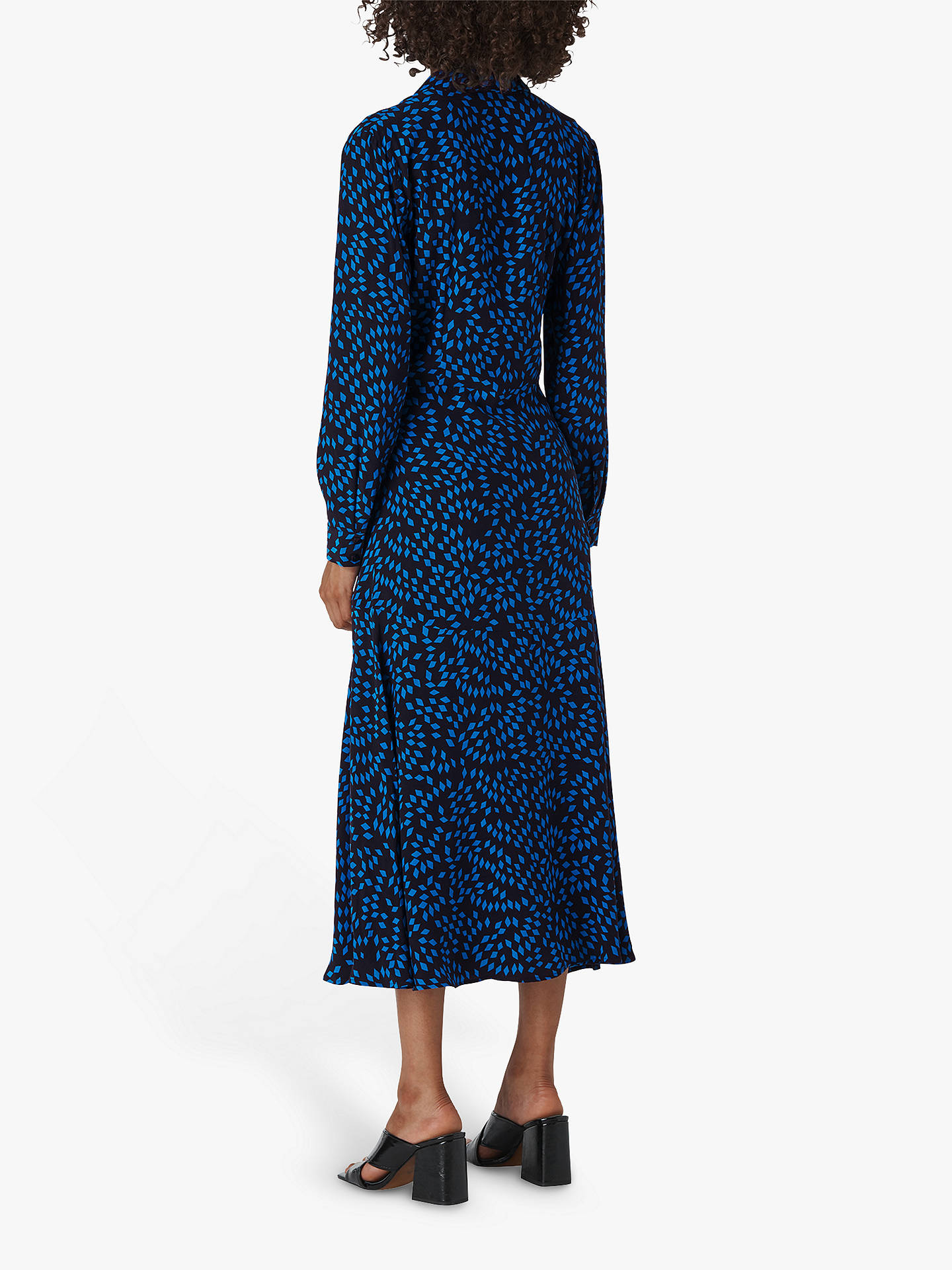 Buy Whistles Scattered Diamond Midi Shirt Dress, Blue/Multi, 6 Online at johnlewis.com