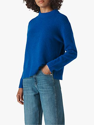 Whistles Ribbed Neck Jumper, Blue