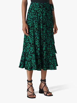 Whistles Block Floral Wrap Skirt, Green/Multi