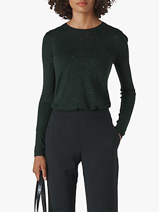 Whistles Annie Sparkle Knit, Dark Green