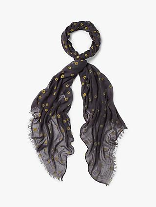 White Stuff Flower Flock Dreaming Away Scarf, Stormy Grey