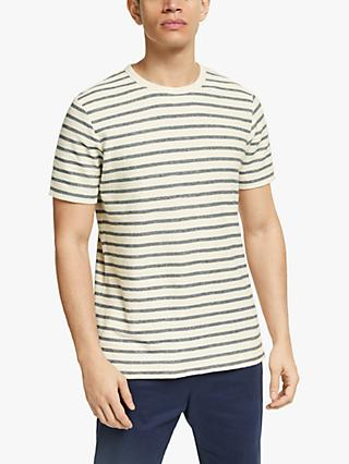 John Lewis & Partners Loop Front Stripe T-Shirt, Ecru/Navy