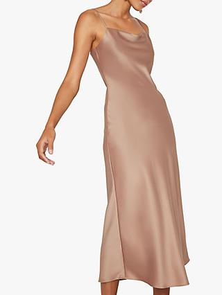 Warehouse Satin Midi Slip Dress, Beige