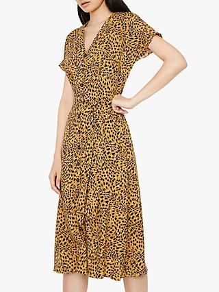 Warehouse Animal Print Button Dress, Yellow
