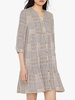 Warehouse Check Tiered Dress, Neutral