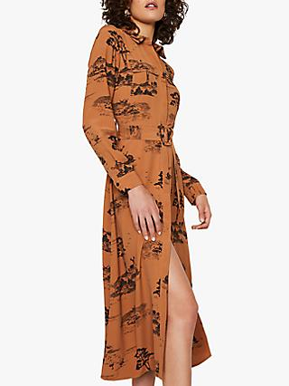 Warehouse Toile Shirt Dress, Tan
