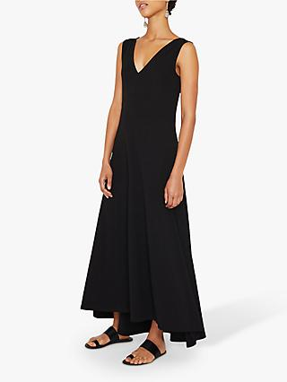 Warehouse V-Neck Crepe Maxi Dress, Black