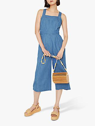 Warehouse Pinafore Jumpsuit, Mid Wash
