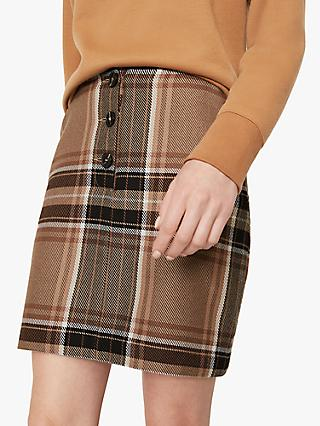 Warehouse Bold Check Skirt, Neutral