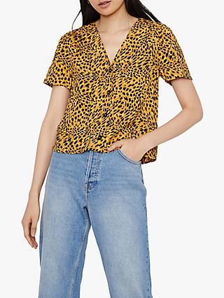 Warehouse Animal Print Button Top, Yellow