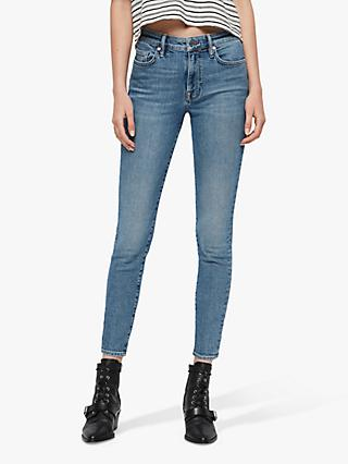 AllSaints Roxanne Cropped Ankle Jeans, Mid Indigo Blue