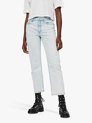 AllSaints Ava Acid Wash Jeans, Light Indigo Blue