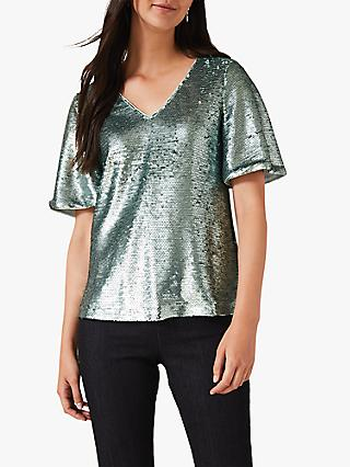 Phase Eight Adara Sequin Blouse, Mint