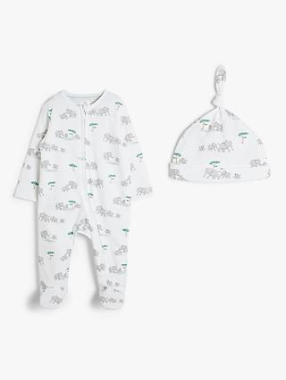 John Lewis & Partners Baby GOTS Organic Cotton Safari Sleepsuit and Hat, White