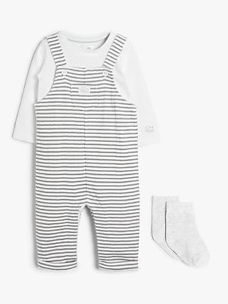 John Lewis & Partners GOTS Organic Cotton Stripe Dungaree & Sock Set, White