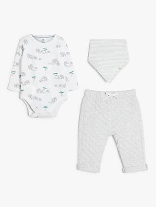 John Lewis & Partners Baby GOTS Organic Cotton Elephant Body, Trouser and Bib Set, Multi