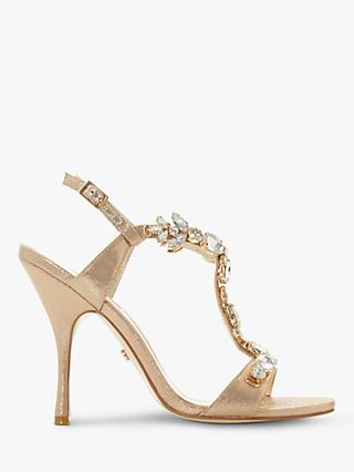 Dune Mistique Embellished Open Toe Stiletto Heels, Gold