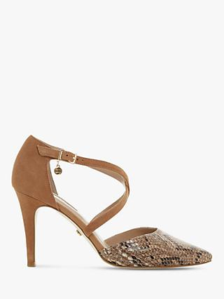 Dune Clancy Suede Cross Strap Pointed Toe Court Shoes, Camel Reptile