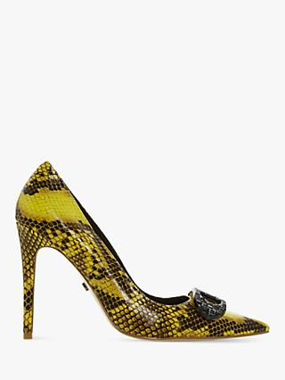Dune Belvedere Stiletto Heel Court Shoes, Yellow Reptile