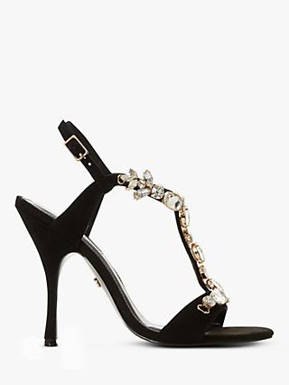 Dune Mistique Embellished Open Toe Suede Stiletto Heels, Black