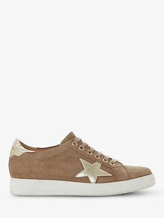 Dune Edris Lace Up Star Trainers, Taupe
