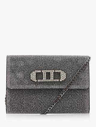 Dune Baae Flap Over Clutch Bag, Pewter