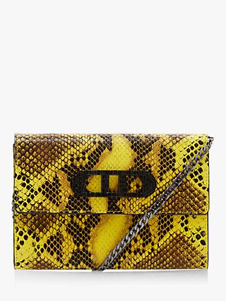 Dune Baae Flap Over Clutch Bag, Yellow Reptile