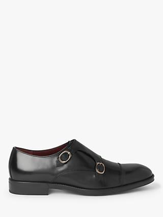 John Lewis & Partners Bruges Leather Monk Shoes, Black
