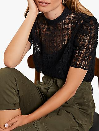 Mint Velvet Lace Puff Sleeve Top, Black