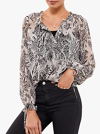 Mint Velvet Heidi Animal Print Boho Top, Multi